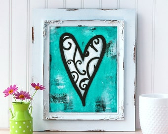 Turquoise Mixed Media Print. Heart Art Print. Whimsical Heart Wall Art. Love Art. Romantic Gift. Gift for Him. Gift for Wife. Gift for Her.