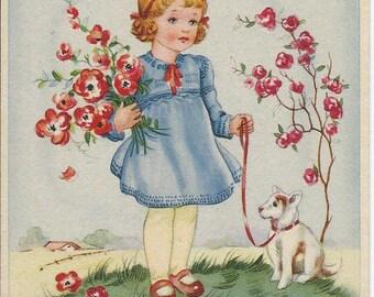Vinatge postcard - Girl in a blue dress with little dog