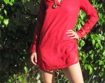 Red 90s Floral Lace Mini Dress V Neck