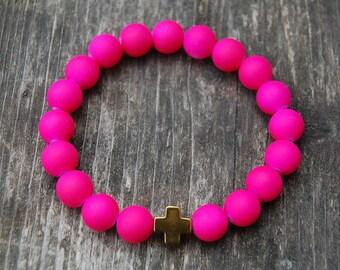 Cross Neon Pink Bracelet,Candy Color Beads,Stretch Bracelet,10mm Beads,Handmade Elastic Bracelets,Woman,Chic,Girl