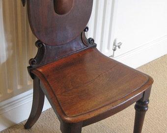 Mid Victorian Mahogany Hall Chair with Shield Back