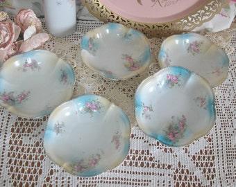 Hand Painted Pink Roses Porcelain Desert Bowls, Set Of 5