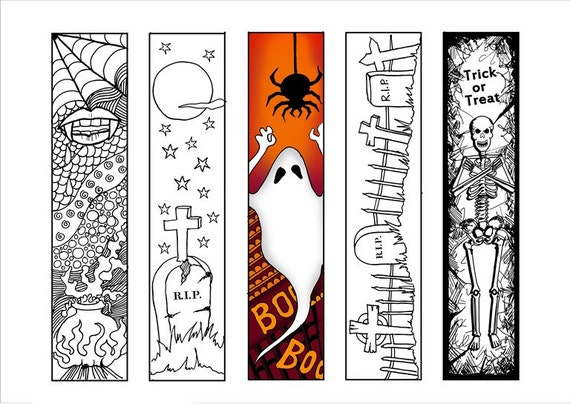 halloween bookmarks adult coloring page halloween coloring book marks printable bookmarks bookmark color diy paper crafts bookmarks art - Halloween Bookmarks To Color
