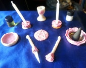 OOAK Mini ALTAR KIT Pink Roses Theme (Wiccan Pagan witch magick Wicca pocket travel altar miniatures pentacle chalice candle wand athame)
