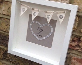 3D Bunting Personalised box feame with pearl heart. Great gift for weddings and anniversaries, Birthdays, or Christmas