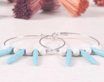 white wood and turquise Chaolite earrings - NX_5381