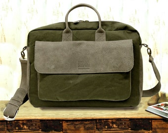 Sale!! Messenger bag, waxed canvas messenger bag, Mens bag, Laptop bag, mens messengers, Womens laptop bag Handmade!
