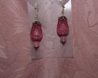 Earrings, Pink Beaded Dangle, E 0433