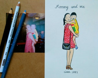 Custom mother daughter portrait | Personalized hand drawn gift for mom's birthday, mother's day