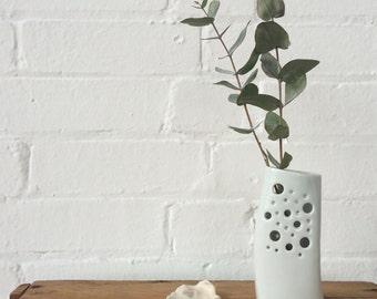 White ceramic bud-vase, 'sea-foam' Vase, coastal chic, ideal Mother's Day or Wedding Gift