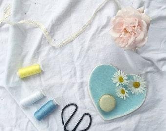Blue heart ceramic plate, Decorative Dish - Heart shaped plate.