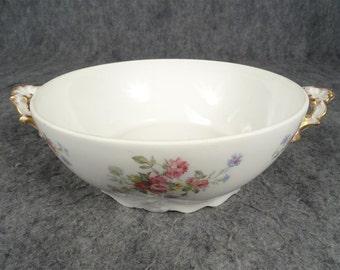 LS&S Limoges Vintage Casserole Dish Floral Pattern Gold Trim