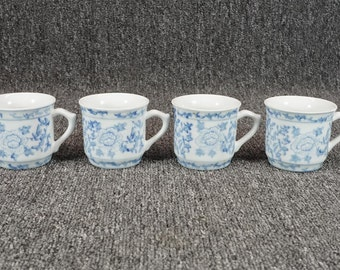 Vintage Pier 1 China Teacups Blue Floral Pattern 2 5/8""