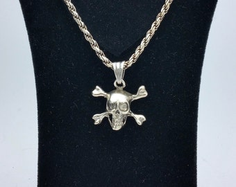 925 Sterling Silver Skull Head Chain with Charm