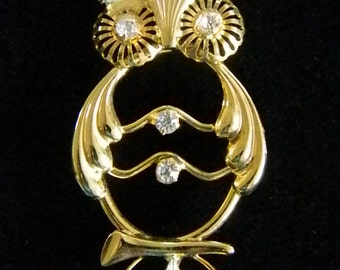 Gold Tone Owl Crystal Eyes Ears Pin Brooch