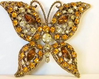 Large Vintage Antiqued Gold Tone Butterfly Pin Brooch with Amber, Gold, Pale Yellow Rhinestones