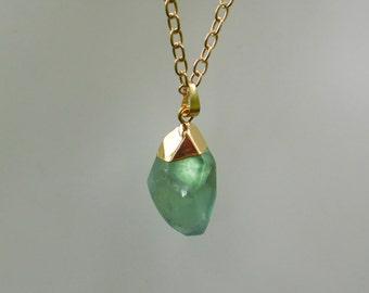 Raw Crystal Necklace, Fluorite Necklace, Gemstone Necklace