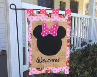 Mouse Head Personalized Appliqued Embroidered Garden Flag Door Hanger