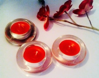 Set of 3 French craft candles , sensual , red, patchouli essential oil fragrance