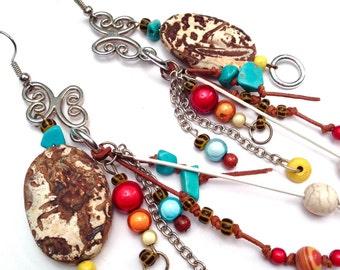Earrings gypsie mixed materials Xtazik creations