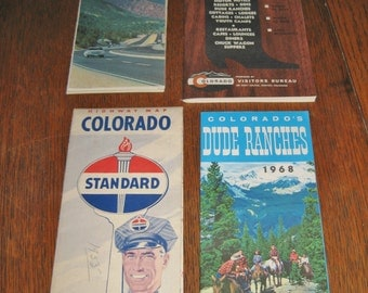 Vintage 1955-60 Colorado maps tourist guides dude range guide ect** free shipping