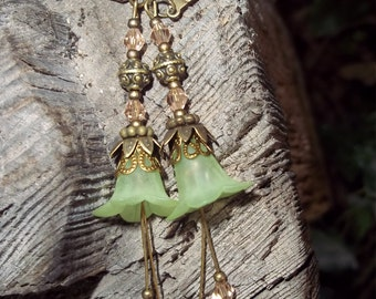 Sweet Fairy Flower Dangle Earrings. Frosted Green Flowers with Coral and Green Crystals. Delicate Looking but sturdy. FANTASY, BOHO, HIPPIE.