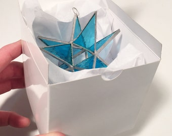 The Perfect Gift or Present! Any Occasion! 4 inch  STAINED GLASS STAR with a Gift Box !