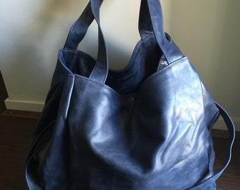 Large leather tote bag - Soft shoulder leather tote - Travel large leather tote.Nappy or diaper, baby bag. Work or laptop bag. Free Shipping
