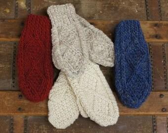 Childrens Aran Mittens   Irish Aran Mitts   Wool Mitts   Traditional Mittens   Kids Mittens