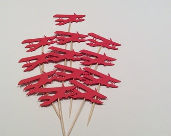 Red Vintage style Airplane cupcake toppers. Airplane Party picks, Party decor, baby shower, happy birthday, Baby shower, 12 per order.