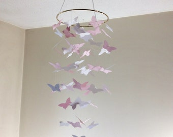 Butterfly mobile, Baby nursery mobile, Blush pink and white fluttering Butterfly mobile! Crib mobile, Wedding decor, bridal shower