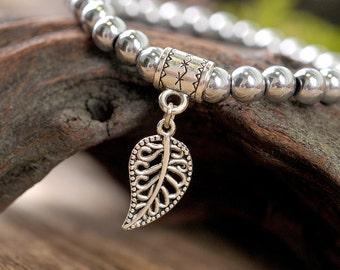 Hematite bracelet, leaf bracelet, gemstone bracelet, stone bracelet, silver bracelet, beaded bracelet, elegant bracelet, nature bracelet