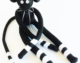 Sock Monkey-Black and White-Striped-Handmade-Monkey-Plushie-Plush-Plushies-Stuffed-Stuffed Animal-Stuffed Monkey