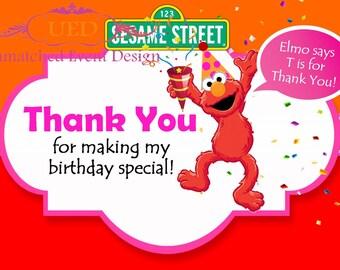 Girl Elmo Thank You Cards, Girl Elmo Birthday, Girl Elmo (DIGITAL/DIY PRINTING) Immediate Download