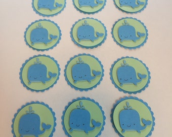 Whale tags, whale scrapbook embellishment, whale party decoration, blue and mint whale tag