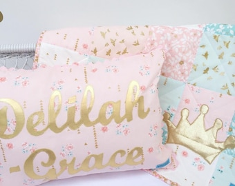 Custom personalised pillow with gold name