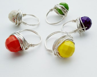 Silver Gemstone Ring- Howlite Beaded Ring- Silver OR Gold Wirewrapped Ring- Gemstone Jewelry- Howlite Jewelry- Bead Ring- Faceted Bead Ring