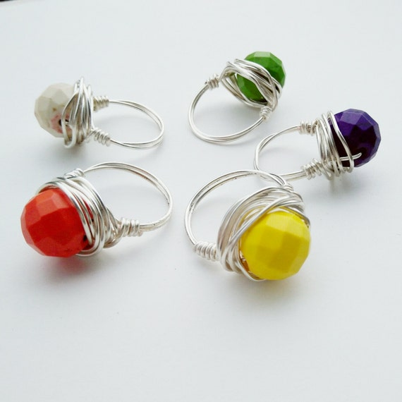 silver gemstone ring howlite beaded ring silver or gold