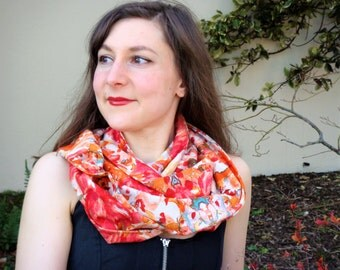Mothers Day Gift Women Infinity Scarf Spring Summer Scarf Cotton Scarf Orange Circle Scarf Gift for Her Cowl Scarf handmade made in France