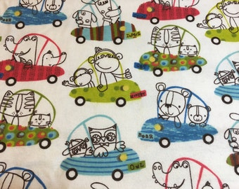Animals cars flannel fabric, animals cars flannel material, animals flannel fabric, cars flannel material, flannel by the yard