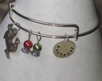 Handmade Portuguese-metal stamped charm adjustable bracelet