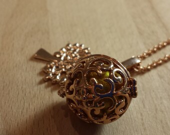 Pregnancy brass rose pattern gold swirls with tree of life pink brass charms.