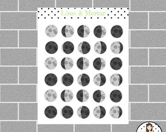Moon Phase Mini Icon Planner Stickers