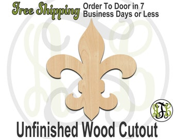 Fleur de Lis 3- No. 300022- Cutout, unfinished, unpainted, wood craft, laser cut, wooden blank, DIY, Free Shipping
