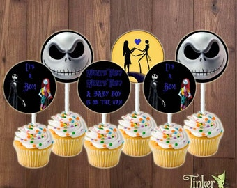 The Nightmare Before Christmas Baby Shower Party Cupcake Toppers - Baby Boy - Digital File -Printable- Jack Skellington It's a Boy Cupcakes