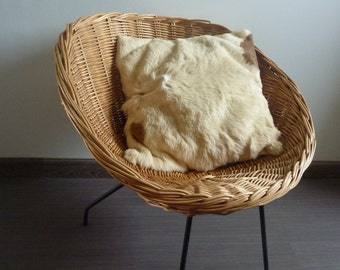 Cushion in cowhide and leather 70s vintage