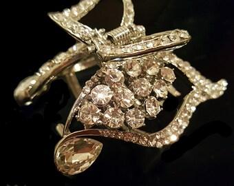 New Bridal Swirl Rhinestone and Crystal 2'' Hair Claw Clip