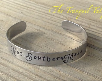 Hot Southern Mess Hand Stamped Metal Jewelry Silver Cuff Bracelet