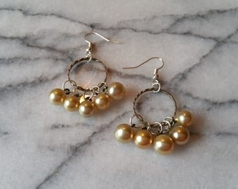 Vintage Pearl Buttons and Silver Cluster Earrings Handmade