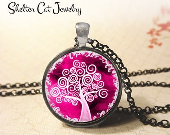 """Pink Curly Tree of Life Necklace - 1-1/4"""" Round Pendant or Key Ring - Handmade Wearable Photo Art Jewelry - Spiritual New Age, Nature Gift"""